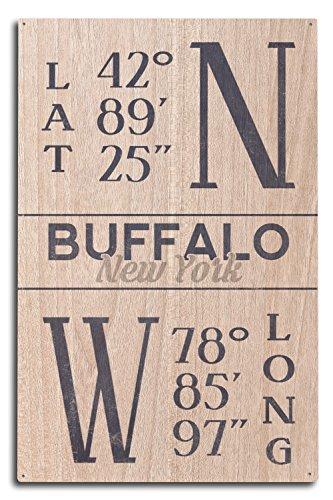 Lantern Press Buffalo, New York - Latitude and Longitude (Blue) (10x15 Wood Wall Sign, Wall Decor Ready to Hang) (Latitude And Longitude Of New York Usa)