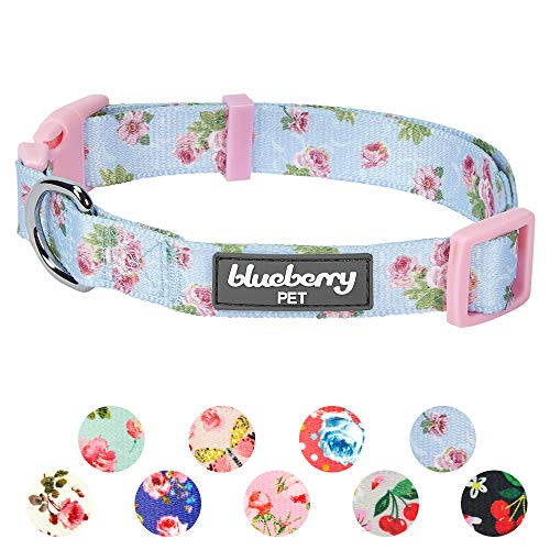 Blueberry Pet 11 Patterns Spring Scent Inspired Rose Blossom Floral Print Pastel Blue Adjustable Dog Collar Medium Neck 14 5 20
