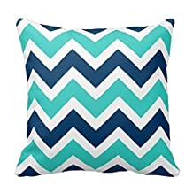 """Home Decorative Navy Blue And Teal Chevron Zigzag Pattern Pillow Throw Pillow Cover Cushion Case 18"""""""