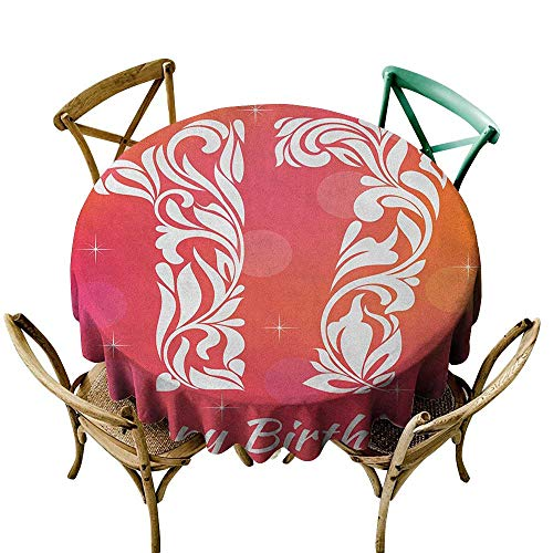 Restaurant tablecloth 39 inch 17th Birthday,Floral Leaves Swirls Seventeen Number with an Abstract Background, Orange and Hot Pink Dust-Proof Table Cover for Kitchen Dinning Tabletop Decoration -