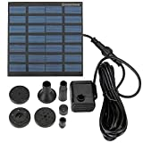 Solar Pump, Danibos Upgraded Solar Power Water Pump Panel Kit Submersible Water Pump for Pool Garden Pond Birdbath Fountain, Frosted Solar Panel (1.2w solar pump)