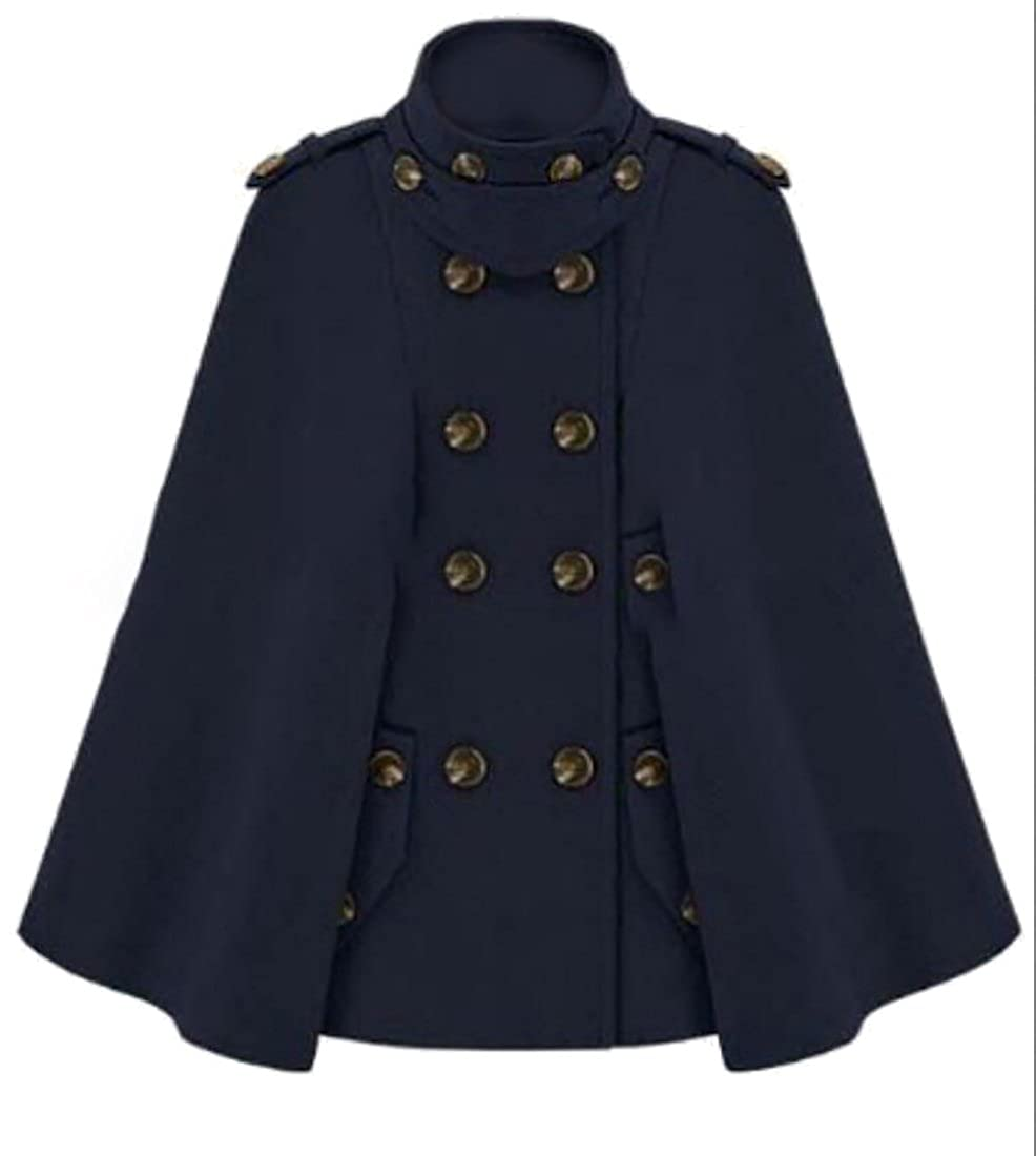 bluee WSPLYSPJY Women Stand Collar Double Breasted Long Sleeve Cape Coats