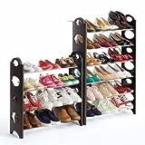 Just Home Zapatera Rack 10 Niveles para 30 Pares Zapatos Shoes Fácil Armado Resistente Practico Hogar Zapatera Organizador Reduce Espacio