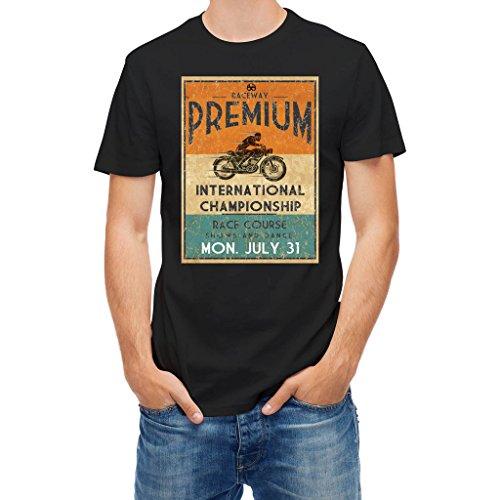 T shirt Vintage Motorcycle Race championship rider Black M ()