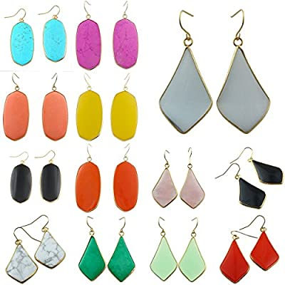 SUNYIK Women's Gemstone Crystal Dangle Drop Earrings Teardrop Oval
