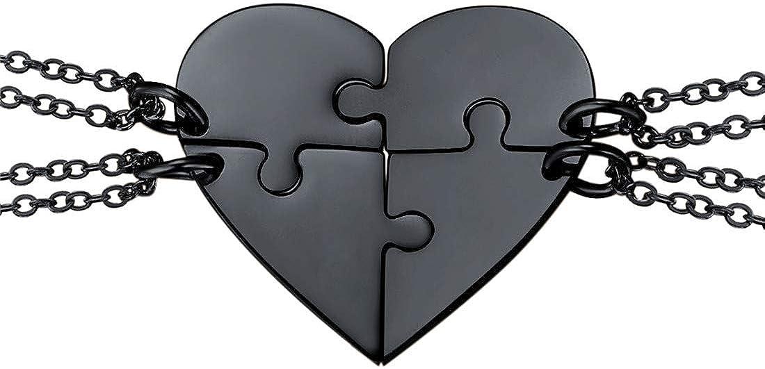 U7 Collar de Corazón Rompecabezas, Collar Personalizable para Amigos Enamorados 2/3/4/5/6 Piezas Opcional con Cadena Rolo Fina 45cm(Caja de Regalo)