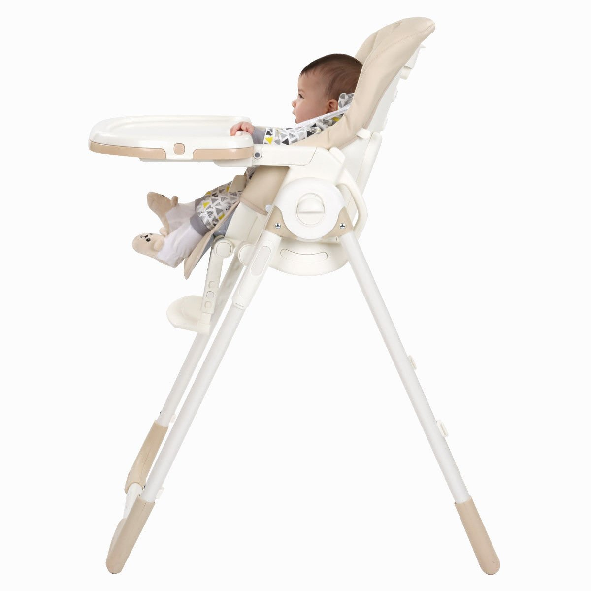 MD Group Baby High Chair Folding Adjustable Height Recline Feeding Steel & Beige Plastic