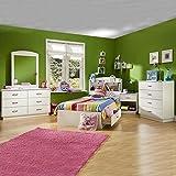 South Shore Logik Kids Pure White Twin Wood Mates Storage Bed 4 Piece Bedroom Set