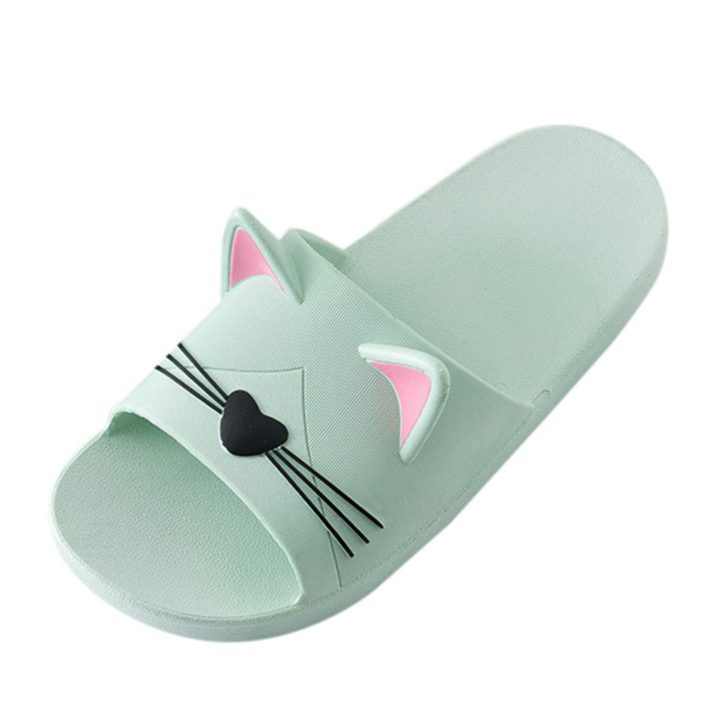 Men&Women Home Indoors Slippers Cartoon Cat Floor Family Shoes Beach Sandals Green