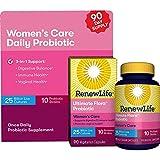 Renew Life Women's Probiotic - Ultimate Flora Probiotic Women's Care, Shelf Stable Probiotic Supplement - 25 Billion - 90 Vegetable Capsules (Packaging May Vary)