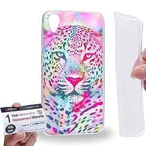 Case88 [HTC Desire 626 / 626s / 626G] Gel TPU Carcasa/Funda & Tarjeta de garantía - Art Fashion Psychedelic Leopard Mix Art0792