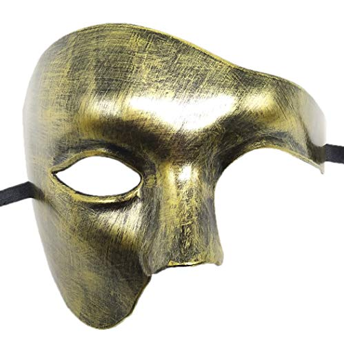 Coolwife Masquerade Mask Vintage Phantom of The Opera One Eyed Half Face Costume (Antique Gold) -