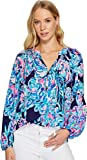 Lilly Pulitzer Women's Elsa Top Bright Navy Caught Up X-Large