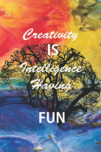 Creativity is Intelligence Having FUN: inspirational lined notebook/journal/diary – size (6 x 9 inches) -120 pages black matte cover,great Birthday gift .