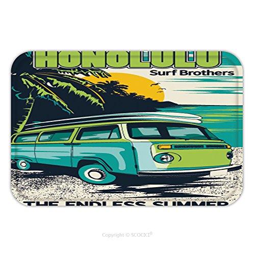 Aloha Surf Rug Carpet Mat (Flannel Microfiber Non-slip Rubber Backing Soft Absorbent Doormat Mat Rug Carpet Retro Hawaii Surf Poster 540987814 for Indoor/Outdoor/Bathroom/Kitchen/Workstations)