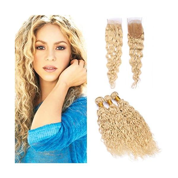 Zara Hair 613 Blonde Water Wave Human Hair Bundles With Closure Wet