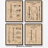 Original Gibson Guitar Patent Art Poster Prints - Set of 4 8x10 Unframed Vintage Style Pictures - Great Wall Art Decor Stringed Musical Instrument Gifts for Guitarists, Music Fans, Man Cave, Garage