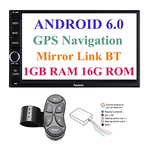 Panlelo PA012s Android 6.0 Car Stereo Double Din Car GPS Navigation 7 inch Car Radio Head Units Touch Screen BT WIFI Mirror Link SWC Quad Core 1GB RAM 16GB ROM AM/FM/RDS by Panlelo