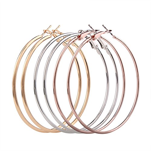 3 Pairs Big Hoop Earrings,Haluoo Stainless Steel Large Hoop Earrings 18K Gold Plated Earrings Thin Rose Gold Silver Plated Hoop Earrings Statement Earrings For Women Girls (Rose Gold,Silver,Gold)