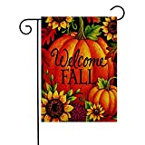 KissDate Double Sided Pumpkin Sunflower Maple Leaf Welcome Fall Garden Flag, Perfect for Outdoor Garden Yard Decoration and Autumn Harvest Celebration (12.5'' x 18'')