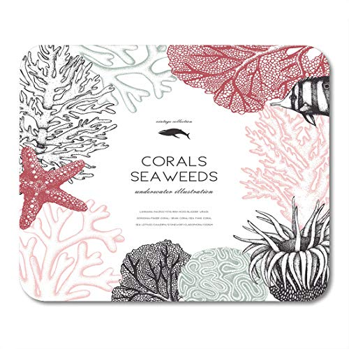 Emvency Mouse Pads Brain Pastel Colored Corals Fish Stars Sketch Vintage Underwater Natural Sealife Wedding Engraving Mousepad 9.5