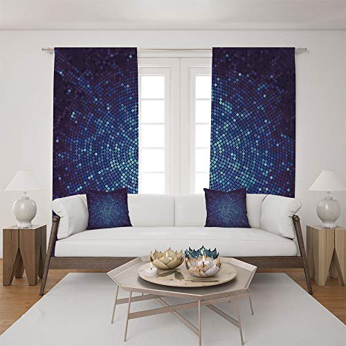 (2 Panel Set Satin Window Drapes Living Room Curtains and 2 Pillowcases,Perspective Depth Pixel Artwork Graphic Design,The perfect combination of curtains and pillows makes your living room)
