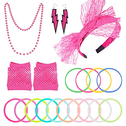 PAXCOO 80s Accessories Costumes for Women Girls Including Headband Earrings Fishnet Gloves Necklace Bracelets Rose Red]()