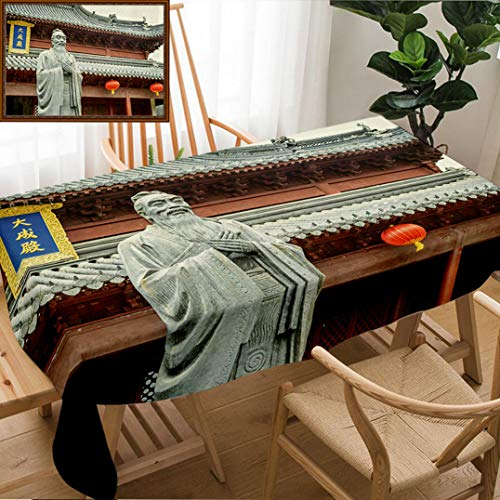 Unique Custom Design Cotton And Linen Blend Tablecloth Confucius Statue Text On The Pavilion Translating Into English Is Dacheng Hall Located In NanjingTablecovers For Rectangle Tables, 78