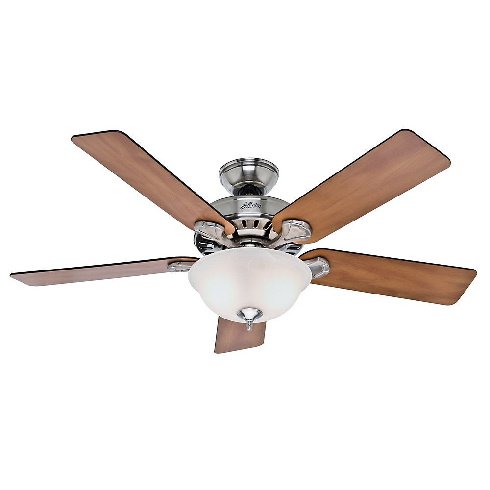 Hunter Fan 53249 Pro's Best Five Minute Fan 52-Inch Brushed Nickel Ceiling Fan with Five Chestnut/Blackened Rosewood Blades and Glass Bowl Light Kit by Hunter Fan Company