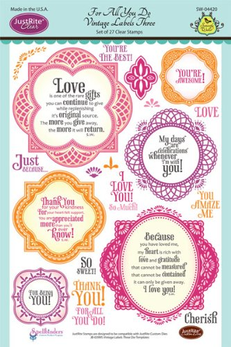 Justrite 27-Piece Papercraft Clear Stamp Set, 6 by 8-Inch, For All You Do Vintage Labels
