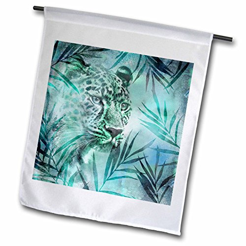 3dRose Andrea Haase Animals Illustration - Leopard And Palm Leaves - 18 x 27 inch Garden Flag (Leopard Leaf)