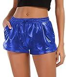 Tandisk Women's Yoga Hot Shorts Shiny Metallic Pants with Elastic Drawstring (Blue, M)