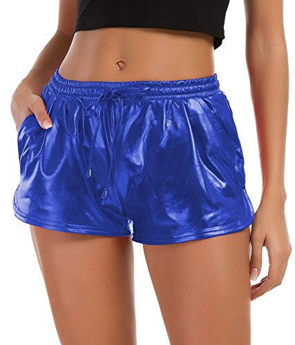 Tandisk Women's Yoga Hot Shorts Shiny Metallic Pants with Elastic Drawstring (Blue, S)
