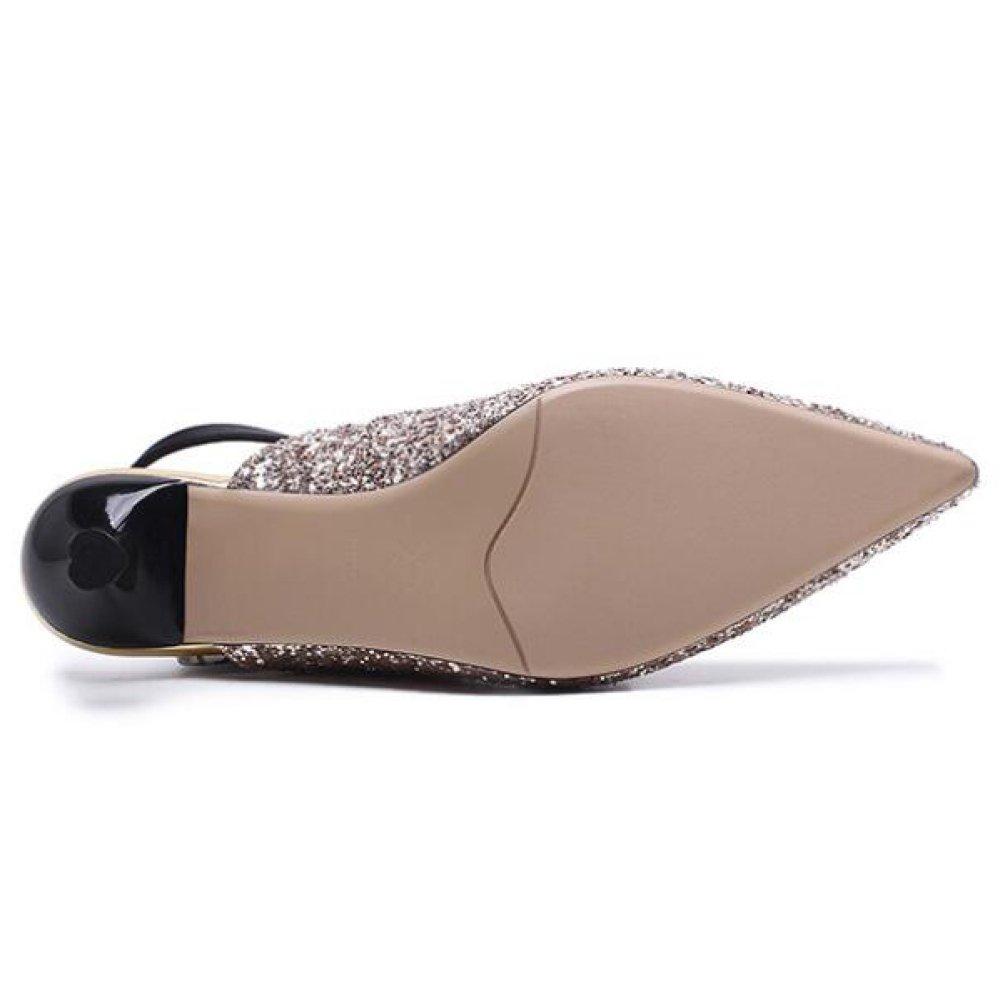 QSCG Frauen Bow Pailletten Kätzchen Kätzchen Kätzchen Ferse High Heel Spitz Stiletto Sandalen Hochzeit Schuhe 244418