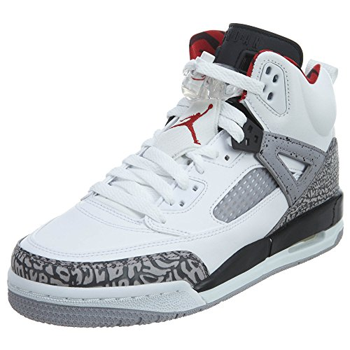 Jordan Nike Kids Spizike BG White/Varsity Red Cement Grey Basketball Shoe 7 Kids US (Varsity Red Cement)
