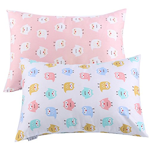 Kids Toddler Pillowcases UOMNY 2 Pack 100% Cotton Pillow Cover Cases 13 x 18'' for Kids Bedding Pink/White Owl by UOMNY