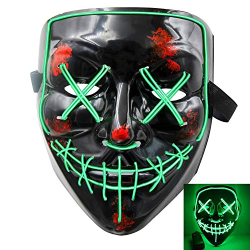 heytech Halloween Scary Mask Cosplay Led Costume Mask EL Wire Light up Halloween Festival Party Black-g