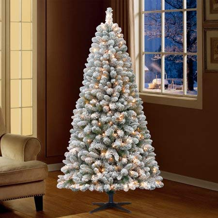 Lit Crystal Artificial Christmas Tree - with Picturesque Beauty and Snowy Delight,Fill Your Home with The Spirit of The Holiday Season with 6.5ft Flocked Pre-Lit Crystal Pine Artificial Christmas Tree with 250 Clear Lights - Green