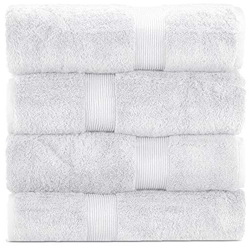 Towel Bazaar 100% Turkish Cotton 27 x 54 Inch, 4 Pack Economic Collection Bath Towels, Multi-Purpose, Lightweight, Absorbent, Hotel Quality, Machine Washable Sport and Workout Towels (White)
