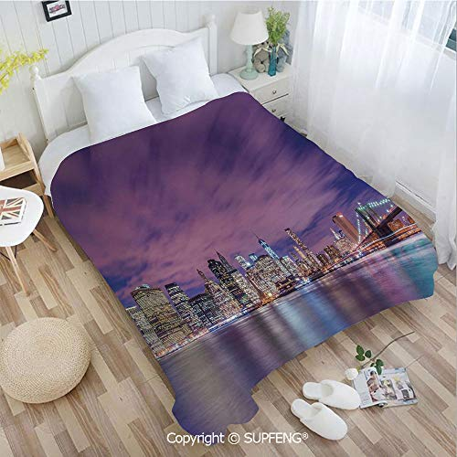FashSam Plush Blanket New York City Skyline at Night with Skyscrapers Manhattan USA American Panorama(W49.2xL78.7 inch) Air Conditioning Comfort Warmth for Bedroom/Living Room/Camping etc (Time Difference Between The Uk And New York)