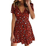 NRUTUP Dresses for Women Party Night Sexy Leopard Print Wrap Dress Mini Dress Clubwear Party Hot(Red,XL)