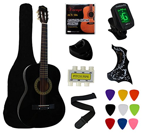 "YMC 38"" Black Beginner Acoustic Guitar Starter Package St..."