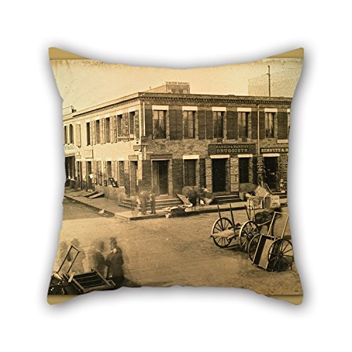 Clay Club Kit (KooNicee 18 X 18 Inches / 45 By 45 Cm Oil Painting F. Coombs - Corner Of Clay And Montgomery Streets, San Francisco. Cushion Covers 2 Sides Ornament And Gift To Chair Teens Boys Boys Club Outdoor T)