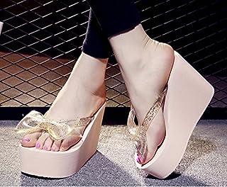 AWXJX été Tongs Femme Chaussures Pincée Pente à Fond épais Noeud Papillon des Talons Hauts Tongs AWXJX Tongs Femme