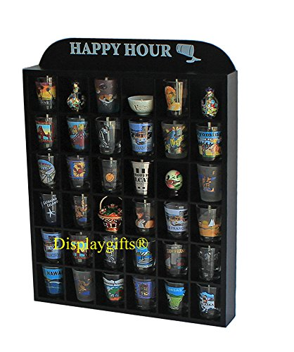 (Happy Hour Shot Glass Display Case Shelf Wall Curio, No Door)