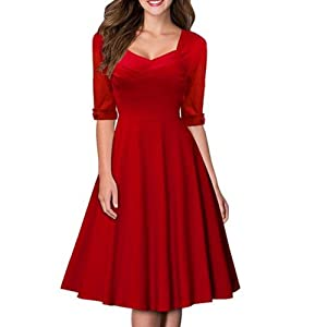 Artfasion Women Rockbilly Vintage Scoop Neckline Midi Swing Dress Party Dress (M, 1506red)
