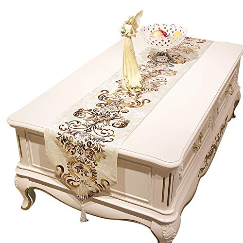 Fashion Bronzing Table Runner, European Coffee Table Runners Holiday, Weddings, Parties or Everyday Use (Color : Beige, Size : 33×250cm)
