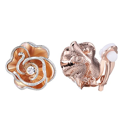 rring Rose Gold Flower with Austria CZ Clip-on Earrings for Women Gifts ()
