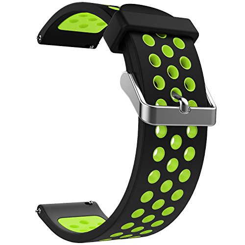 Emibele 20mm Universal Watch Band, Premium Soft Silicone Adjustable Replacement Strap for 20mm Sport Strap, Black & Green