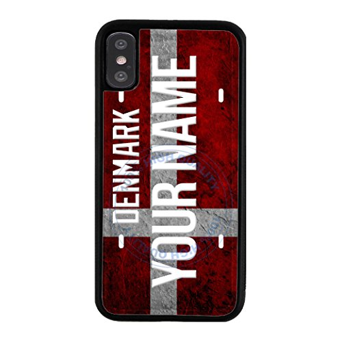 BleuReign(TM) Personalized Custom Name License Denmark Country Flag Plate TPU RUBBER SILICONE Phone Case Back Cover For Apple iPhone X - Name Official Denmark